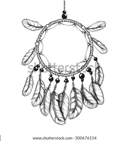 Ethnic tribal dream catcher with feathers. Native american style.