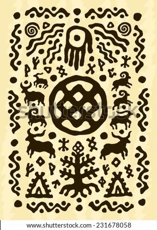 ethnic tribal native prehistoric animal symbol    - stock vector