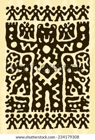 ethnic tribal native prehistoric beer witch shaman drum  symbol        - stock vector