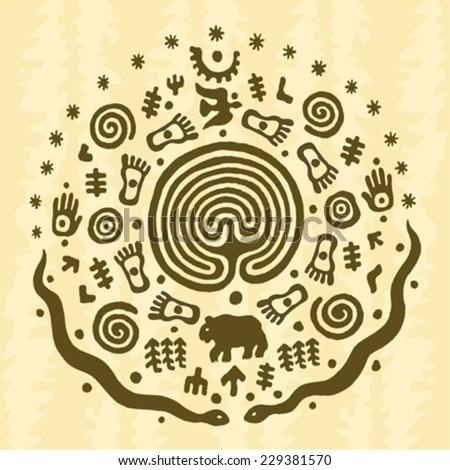 ethnic tribal native prehistoric labyrinth symbol  - stock vector