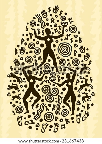 ethnic tribal native prehistoric magic witch dance woman - stock vector