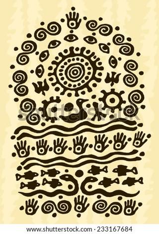 ethnic tribal native prehistoric water birds solar shaman symbol - stock vector