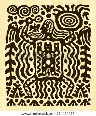 ethnic tribal native prehistoric witch shaman dance drum bird bear symbol  - stock vector