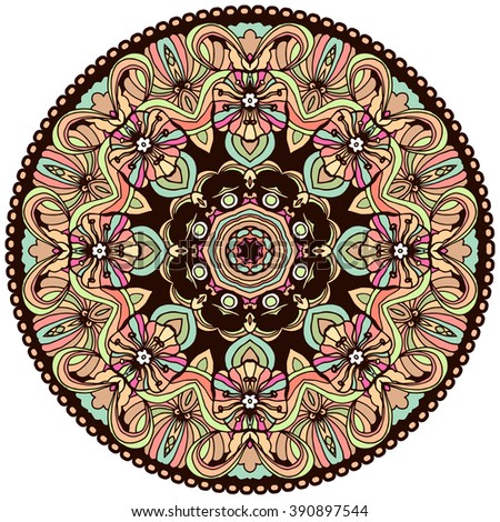 Ethnic tribal round ornament. Colorful mandala for meditation. Can be used for Yoga design.Isolated vector illustration.