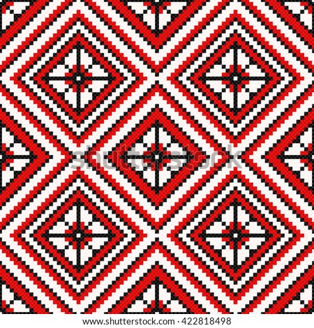 Ethnic Ukrainian multicolour geometric broidery in red and black hues, seamless vector pattern - stock vector