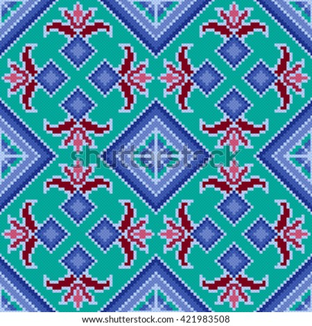 Ethnic Ukrainian multicolour geometric broidery, seamless vector pattern - stock vector