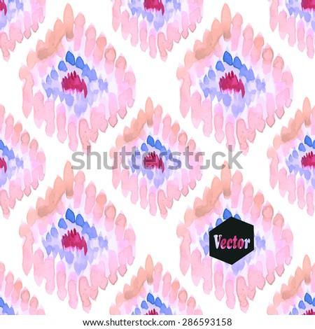 Ethnic watercolor decorative ornamental striped seamless pattern. Vector version. - stock vector