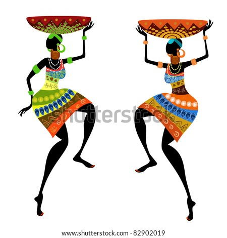 Ethnic woman with vase - stock vector