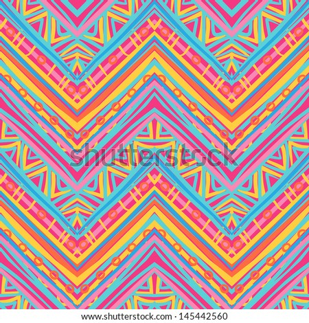 Ethnic zigzag pattern in retro colors, African style seamless vector background - stock vector