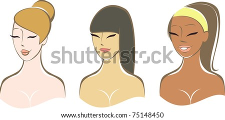 Ethnically Diverse Girls - stock vector