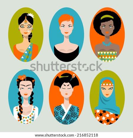 Ethnically/ racially /religiously diverse women. Set of icons. Vector illustration - stock vector