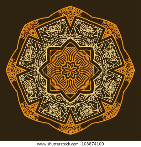 Ethnicity round ornament in brown and yellow colors, mosaic vector illustration - stock vector
