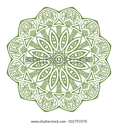 Ethnicity round ornament in green and white colors, mosaic vector illustration - stock vector