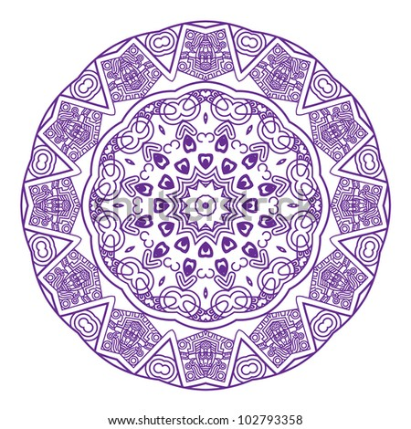 Ethnicity round ornament in violet and white colors, mosaic vector illustration - stock vector