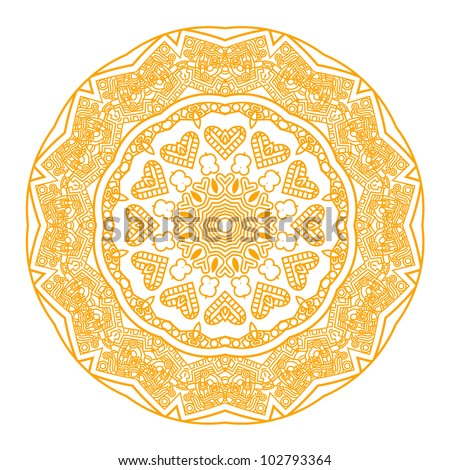 Ethnicity round ornament in yellow and white colors, mosaic vector illustration - stock vector