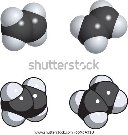 ethylene ethene molecule  C2h4 Molecule
