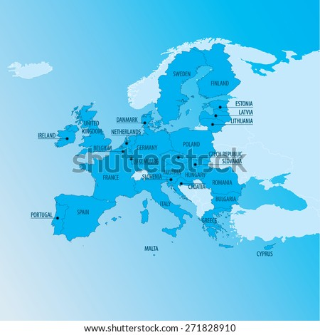 EU - Europe Political Map - stock vector