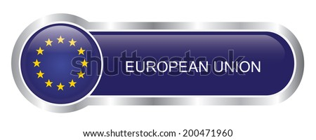 EU Flag glossy banner - stock vector