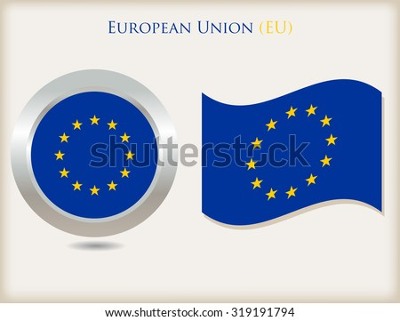 EU flag icon.EU flag vector illustration. - stock vector