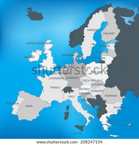 EU or European union map with named countries.