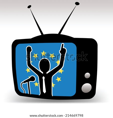 EU politician on tv, man speaks on booth with european union flag in background - stock vector