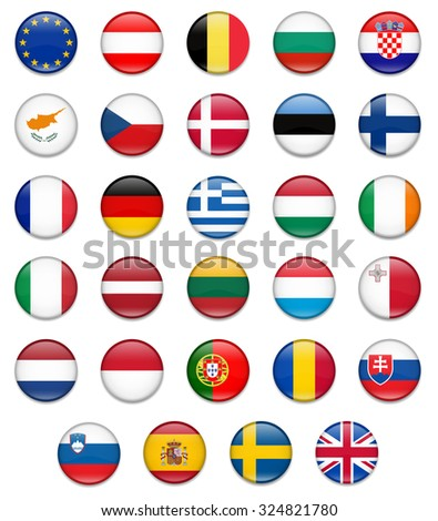 EU Union Button Flag Collection-Complete - stock vector