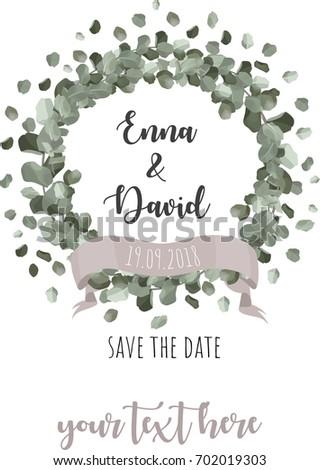 Eucalyptus wreath wedding invitation vector design stock vector wedding invitationctor design stopboris Choice Image