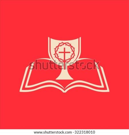 Eucharist, Bible, chalice, cross, communion - stock vector