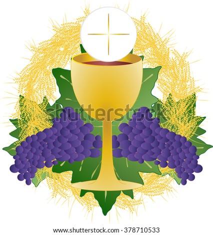 Eucharist Symbol Bread Wine Chalice Host Image Vectorielle De Stock