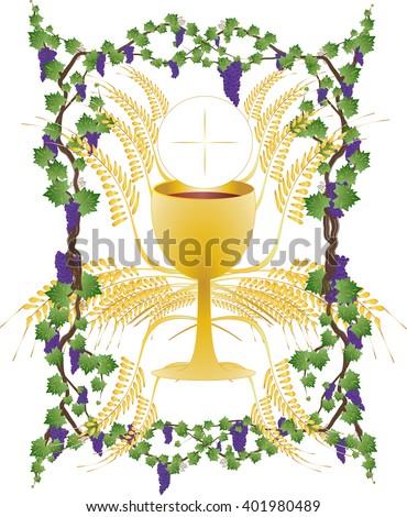 Eucharist Symbols Bread Wine Chalice Host Stock Vector 401980489