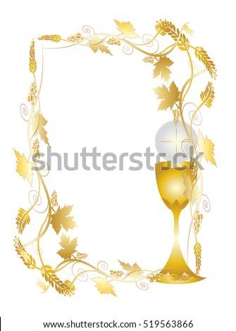 Eucharist Symbols Bread Wine Chalice Host Stock Vector 2018