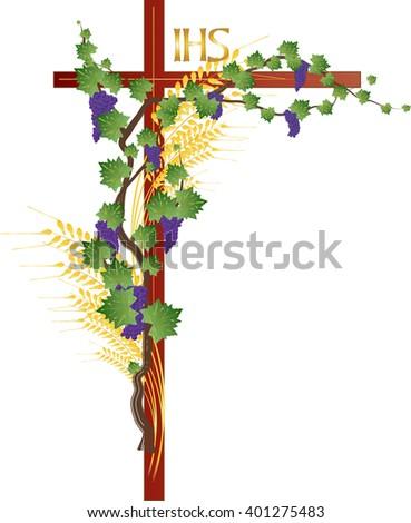 Eucharist Symbols Bread Wine Wheat Ears Stock Vector 2018