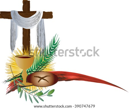 Eucharist Symbols Bread Wine Symbols Passion Stock Vector Royalty