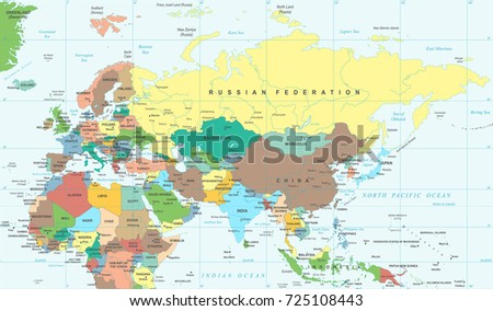 Eurasia europa russia china india indonesia vectores en stock eurasia europa russia china india indonesia thailand africa map detailed vector illustration gumiabroncs Choice Image