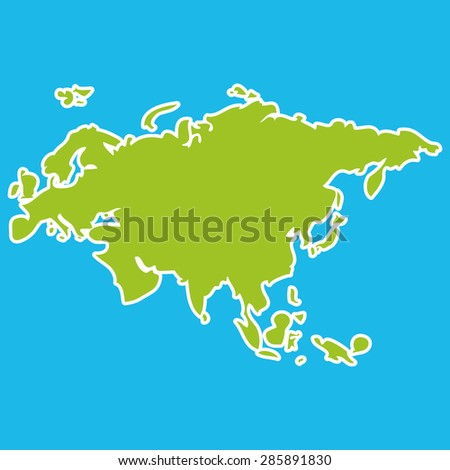 Eurasia map green continent  on blue background. Vector - stock vector
