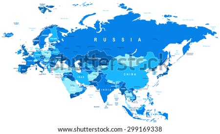 Eurasia Map Highly Detailed Vector Ilration