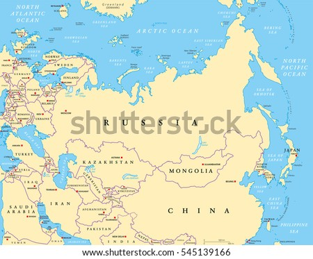eurasia political map with capitals and national borders combined parts of the continental landmass of