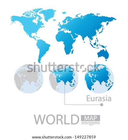 Eurasia World Map Vector Illustration Stock Vector 149227859