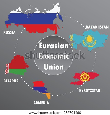 Eurasian Economic Union,countries, infographics, map,flag ,vector illustration - stock vector