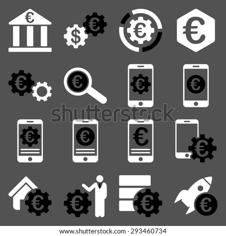 Euro banking business and service tools icons. These flat bicolor icons use black and white colors. Images are isolated on a gray background. Angles are rounded. - stock vector