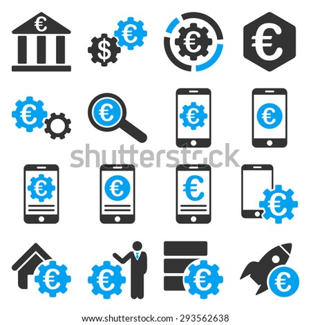 Euro banking business and service tools icons. These flat bicolor icons use blue and gray. Images are isolated on a white background. Angles are rounded. - stock vector