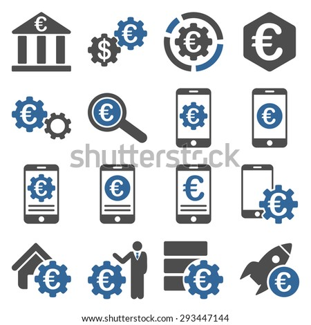 Euro banking business and service tools icons. These flat bicolor icons use cobalt and gray colors. Images are isolated on a white background. Angles are rounded. - stock vector