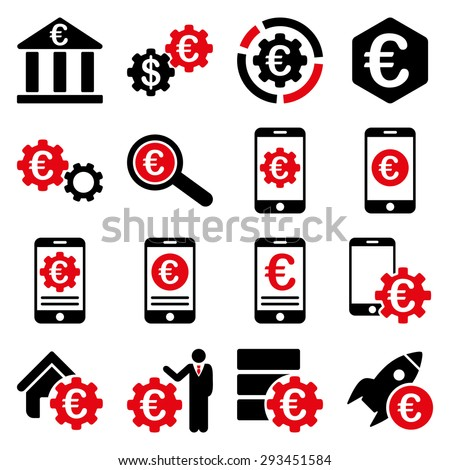 Euro banking business and service tools icons. These flat bicolor icons use intensive red and black colors. Images are isolated on a white background. Angles are rounded. - stock vector