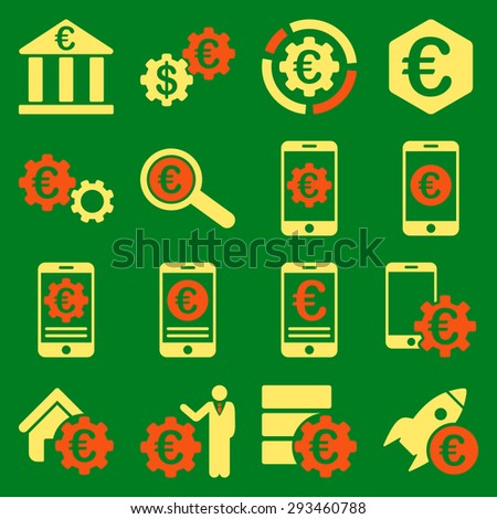 Euro banking business and service tools icons. These flat bicolor icons use orange and yellow colors. Images are isolated on a green background. Angles are rounded. - stock vector