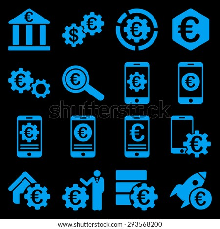 Euro banking business and service tools icons. These flat icons use blue. Images are isolated on a black background. Angles are rounded. - stock vector