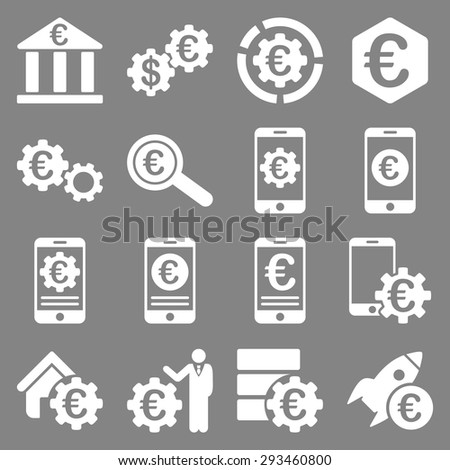 Euro banking business and service tools icons. These flat icons use white color. Images are isolated on a gray background. Angles are rounded. - stock vector