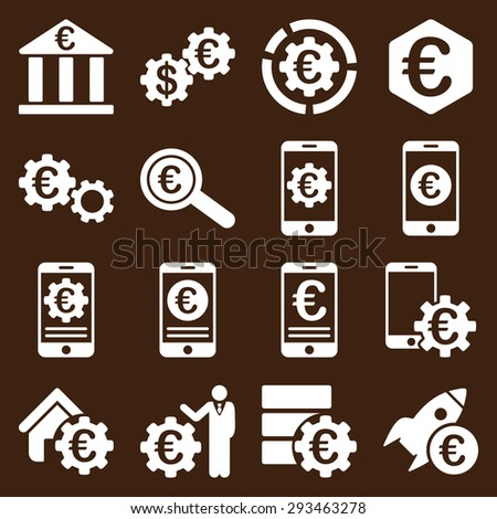 Euro banking business and service tools icons. These flat icons use white color. Images are isolated on a brown background. Angles are rounded. - stock vector