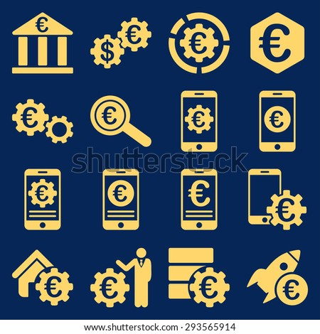 Euro banking business and service tools icons. These flat icons use yellow. Images are isolated on a blue background. Angles are rounded. - stock vector