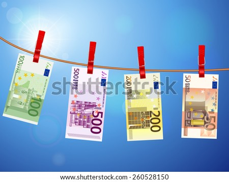 Euro banknotes hanging on a clothesline against a sky. - stock vector