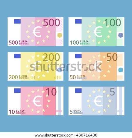Euro banknotes. Paper money. Simple, flat style. Graphic vector illustration. - stock vector